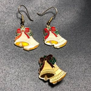 Vintage Holiday Earring and Pin Set